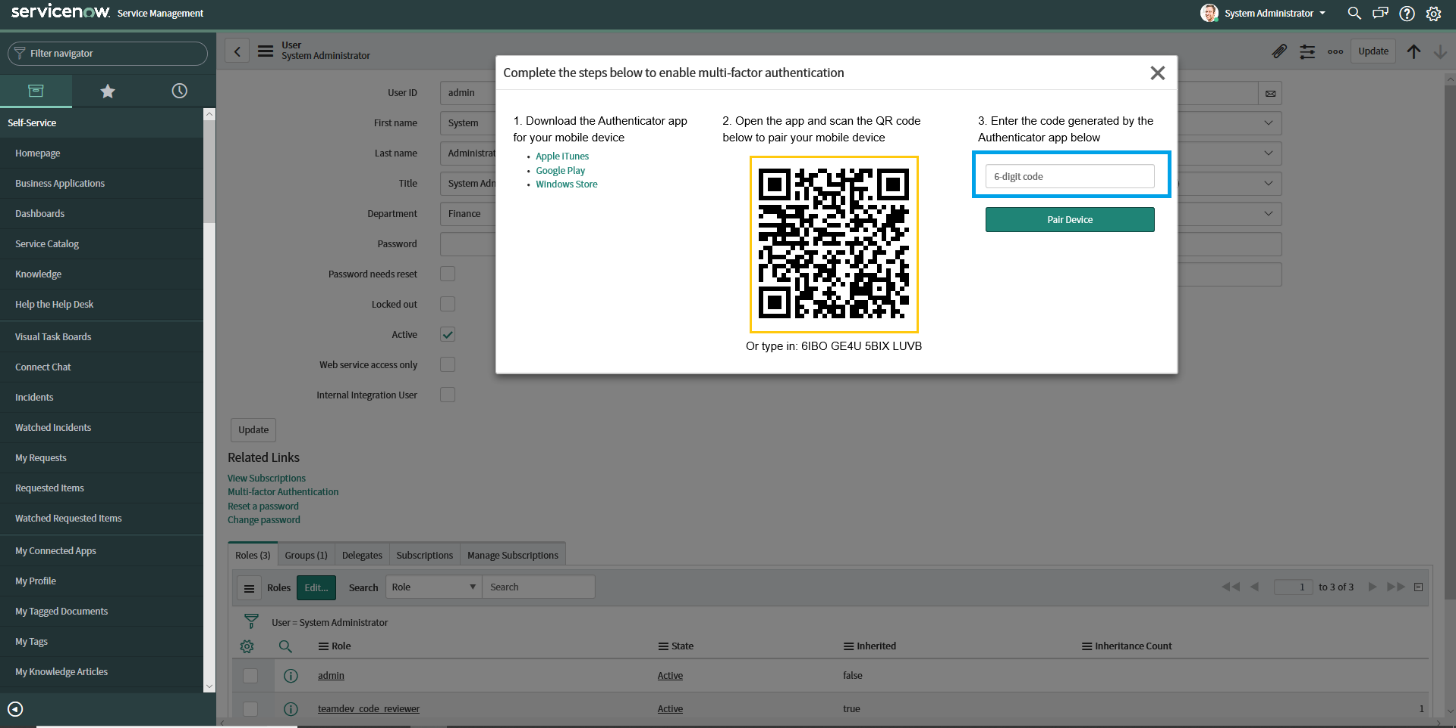 Pairing the ServiceNow Madrid instance using QR Code