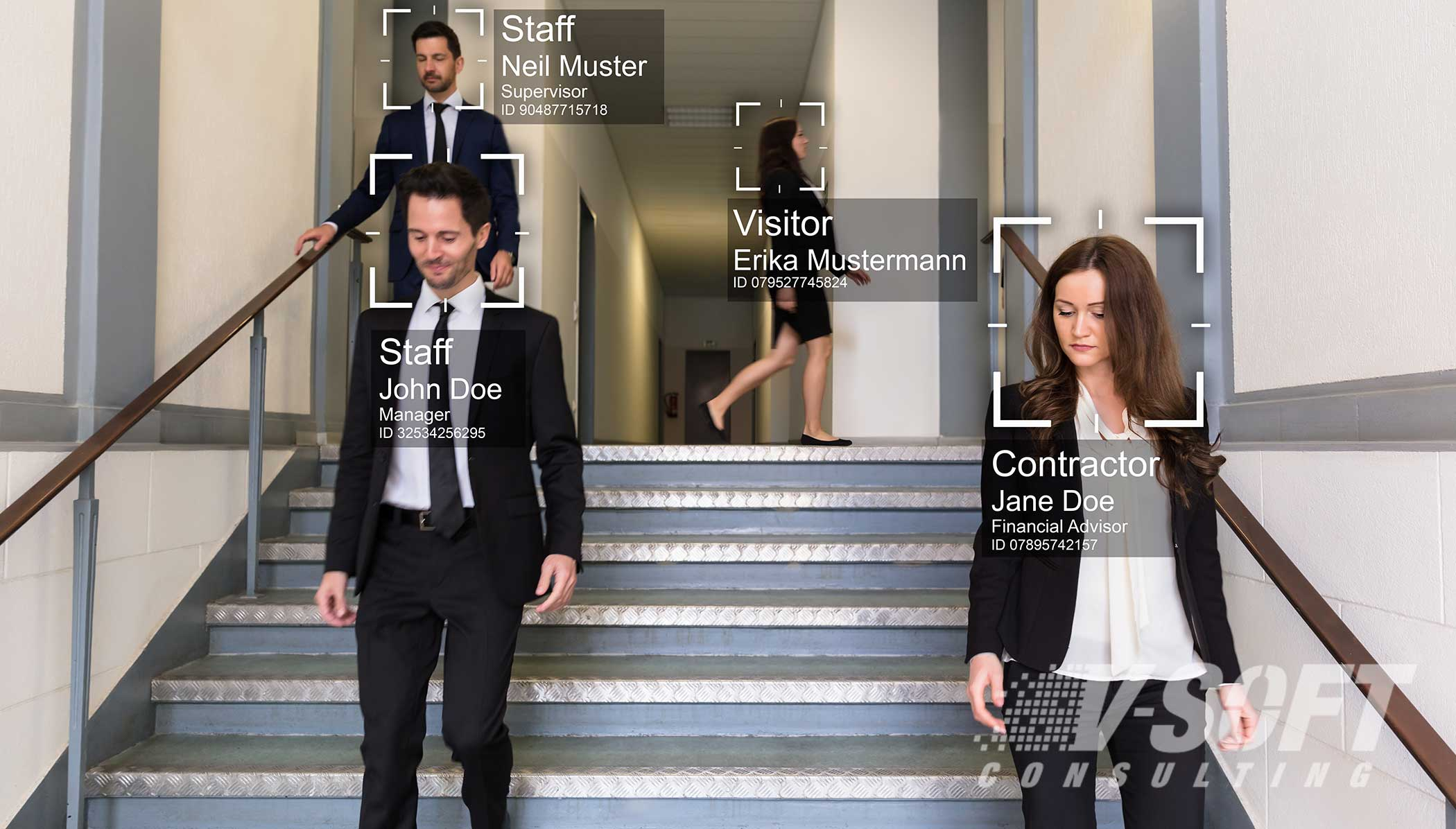 Computer vision application identifying office employees using AI