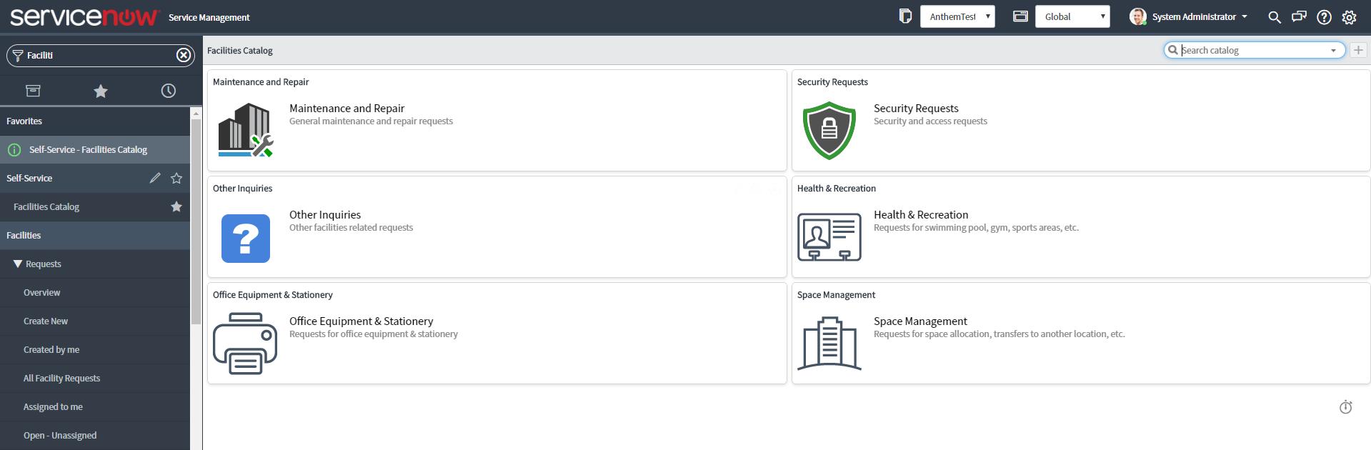 Facility Management Catalogue Dashboard Now Platform