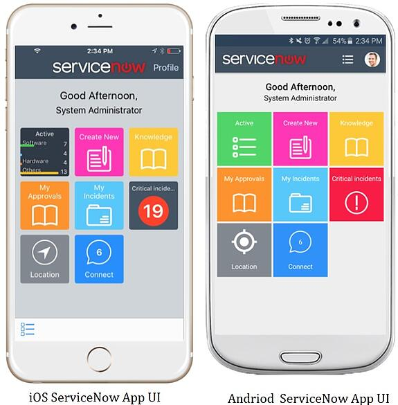 ServiceNow Madrid  Mobileapp view in Andriod and iOS platforms