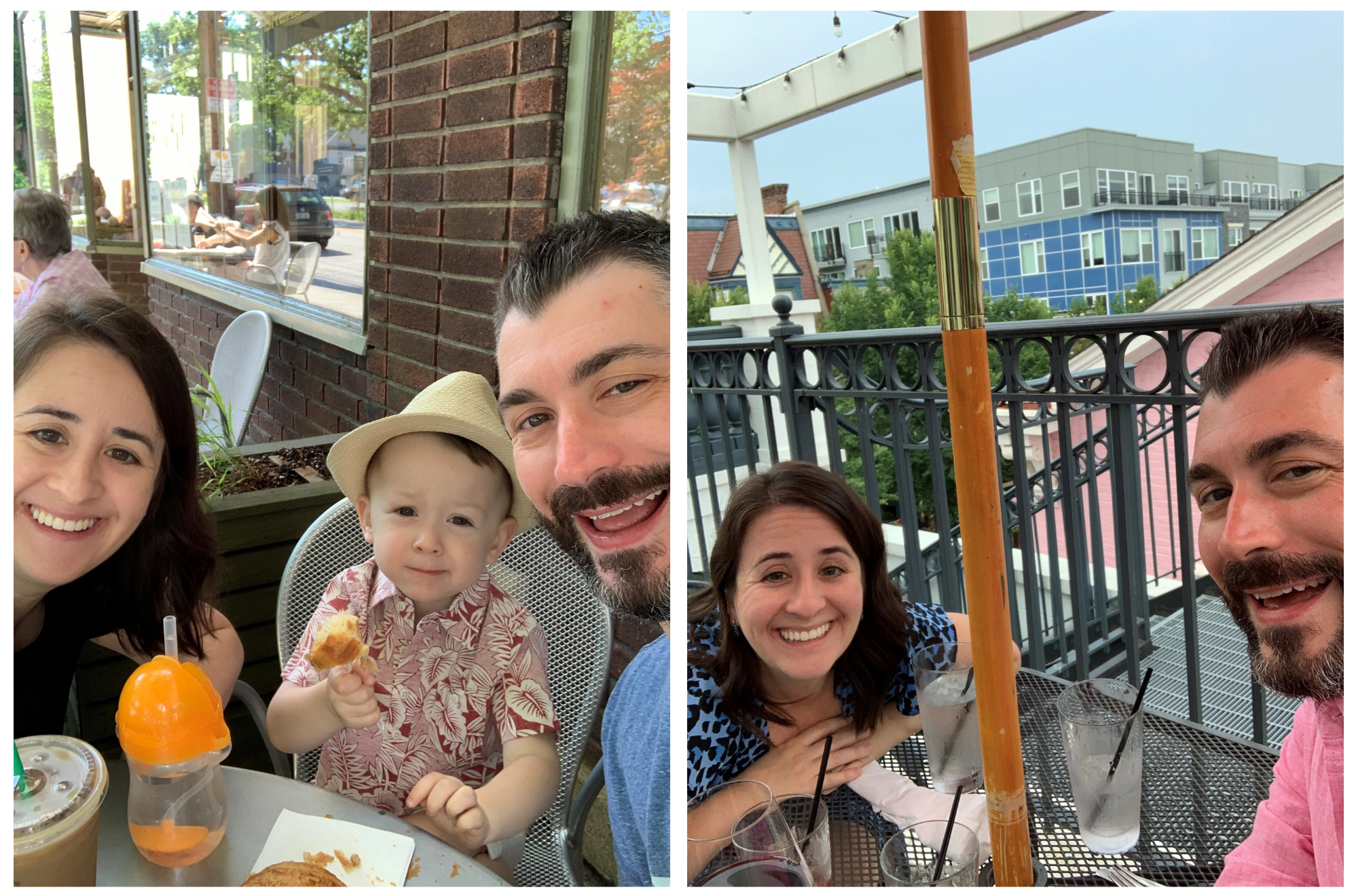 Trey with his wife and son enjoying Louisville's foodie scene.