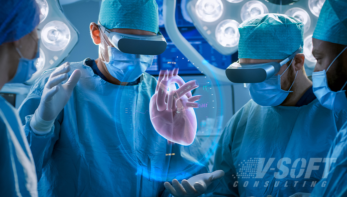 Doctors Performing surgery using AR Technology