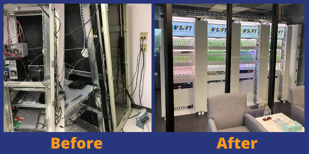 Before and after cabling project
