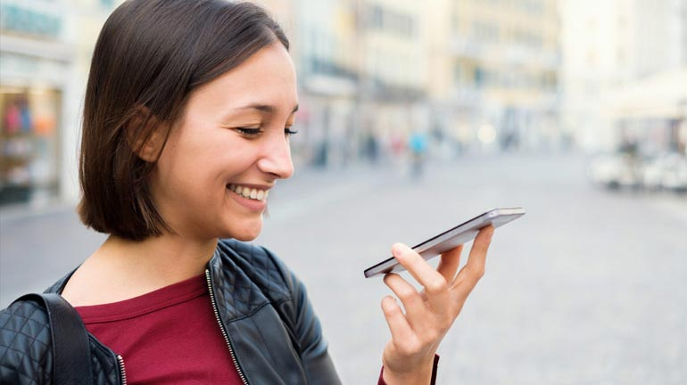 Woman on Phone with Amazon Web Services Chatbot Customer Experience