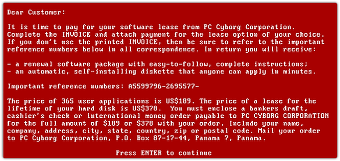 ransomware example message