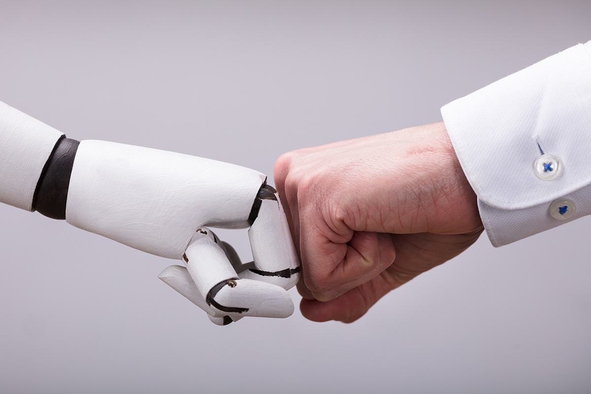 For HR Automation we have a Robot and Human fist-pump and work together