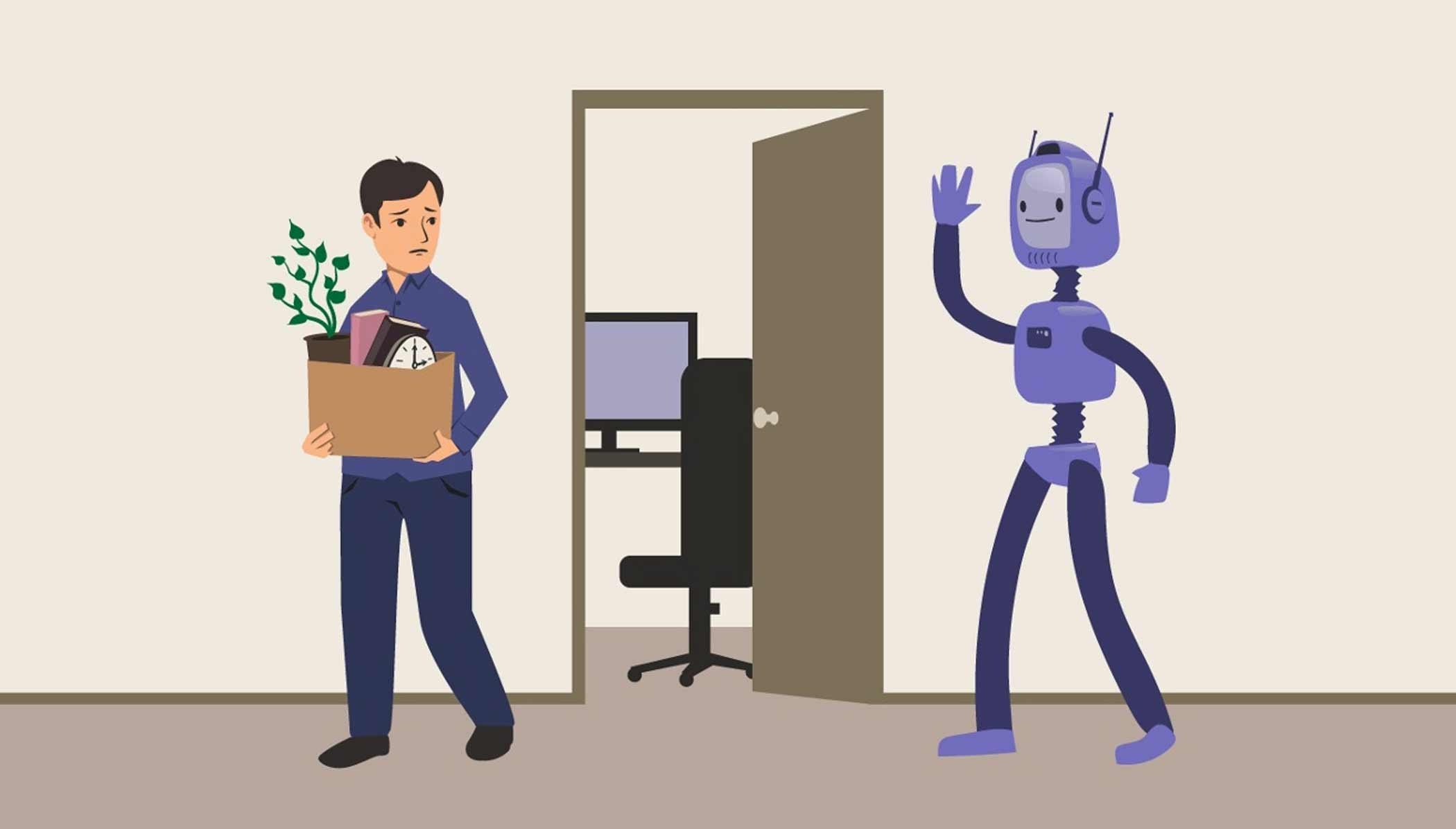 Robot replacing Human Resources Professional.