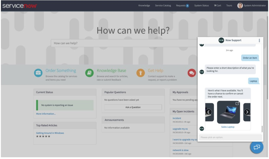 Service Now Virtual agent Chatbot in use one website