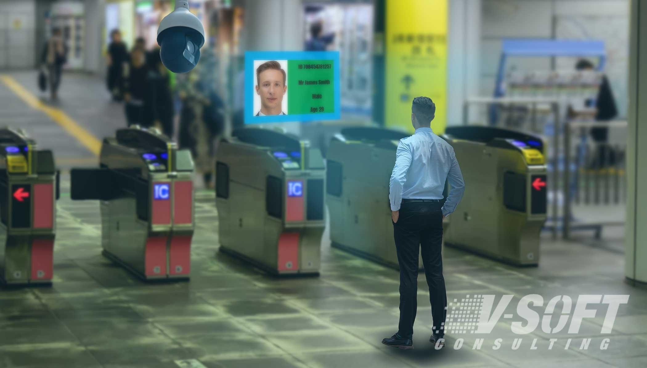 Facial recognition of a man through AI