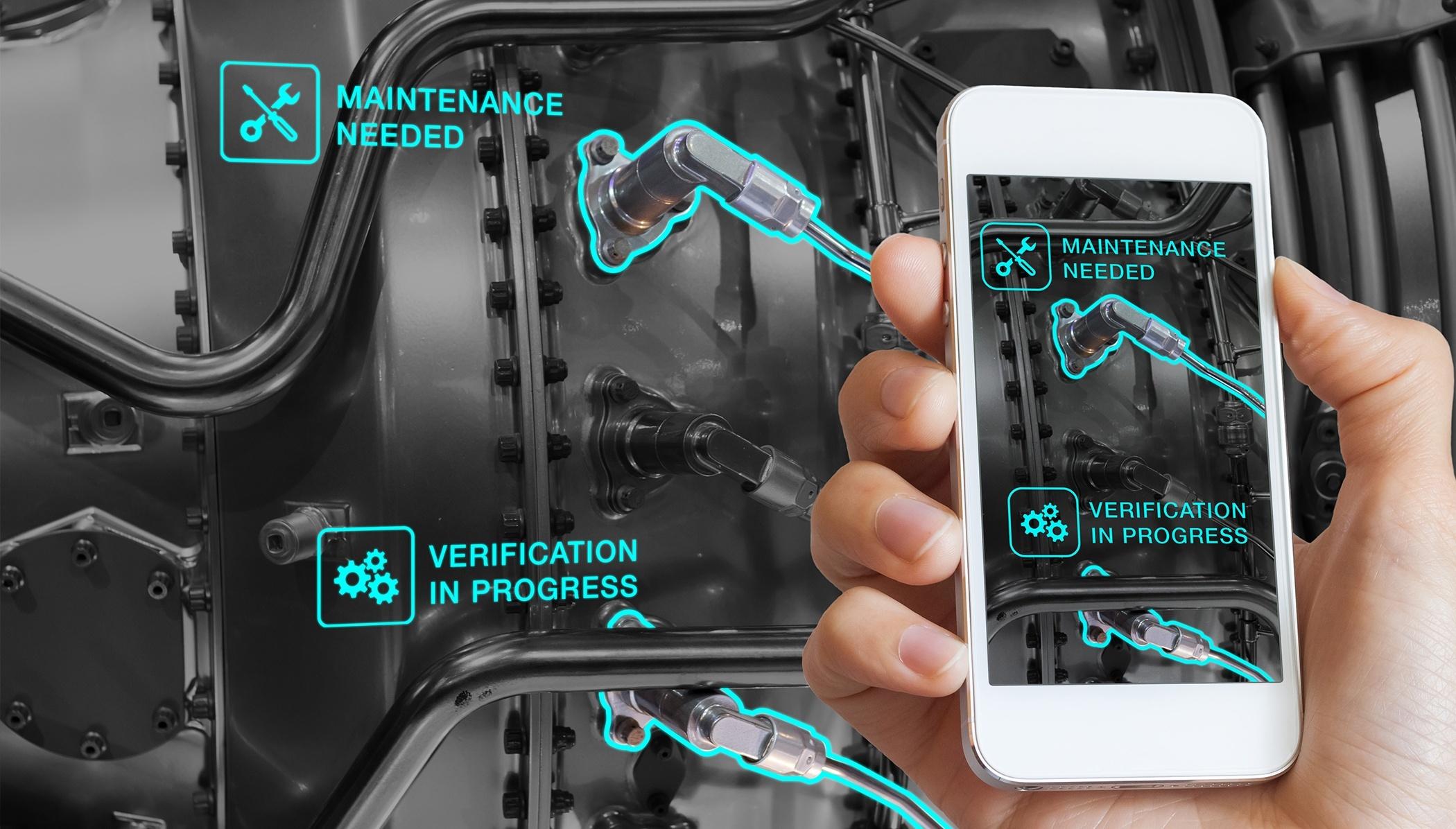 Augmented Reality technology maintenance, technician using smartphone, AR interface, monitoring _Blog