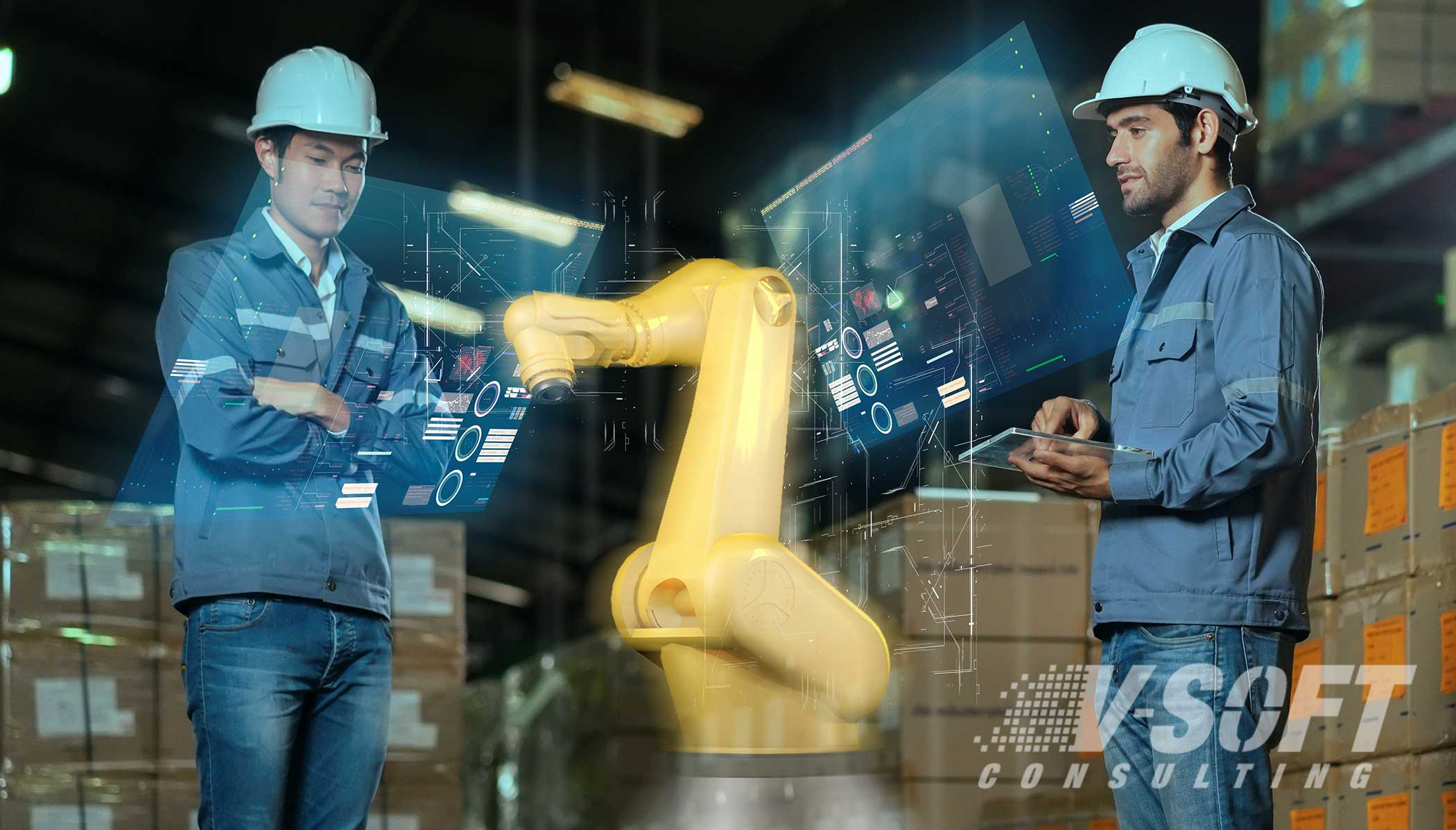 Factory workers using AR tools