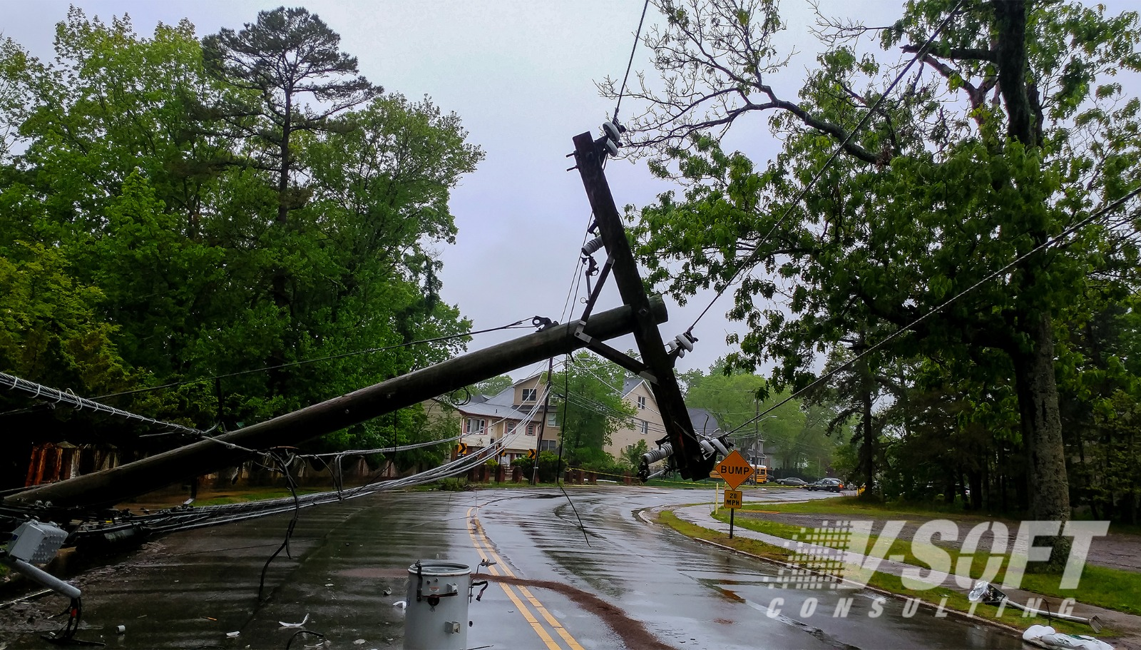 Telephone Pole knocked down during natural disaster. Chatbot Response.
