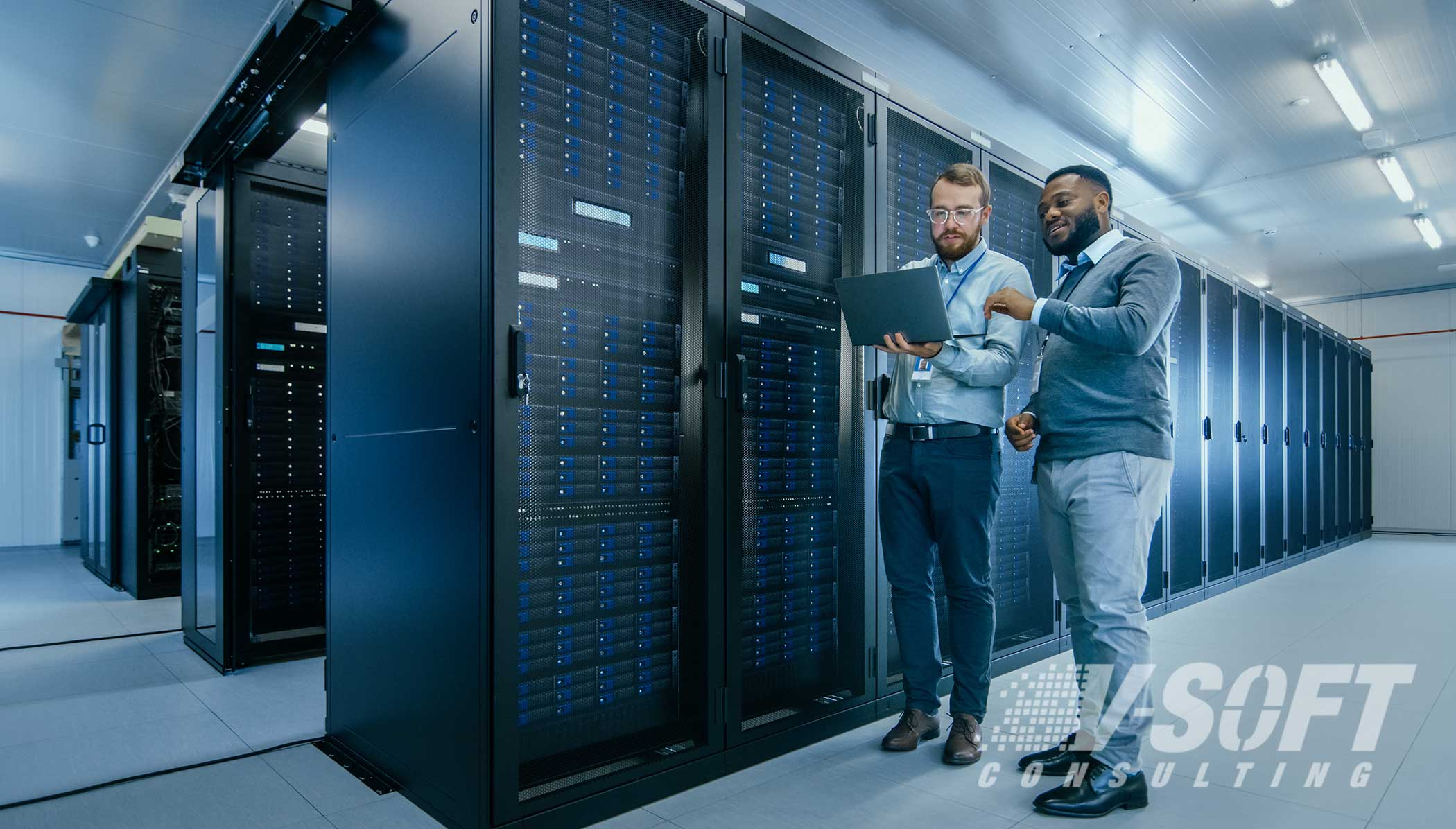 IT Team working in data center