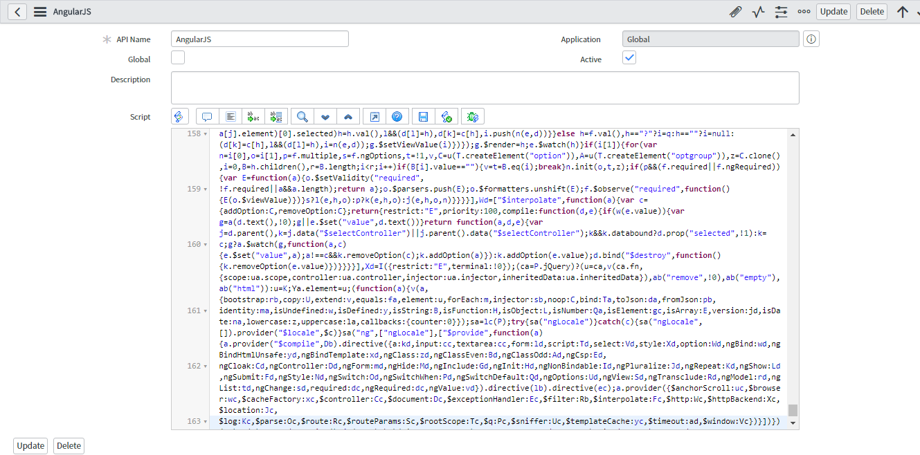 Process of adding AngularJS script