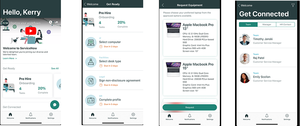 Figure: Onboarding Mobile App screenshots from ServiceNow New York Release