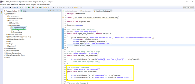 Loginmethods.java  Methods for the functionality are defined in this class