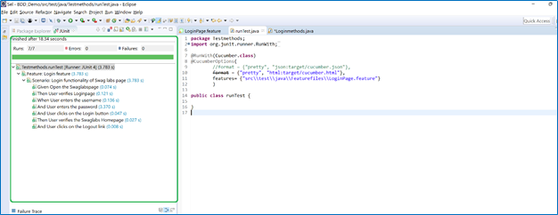 Feature file run results in the Junit