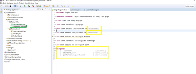 Feature file is where Steps for the scenario is written in this class: