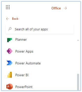 Figure: Find Power Automate using App Launcher.