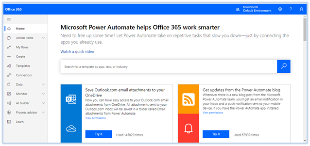 Microsoft Power Automation Home Page